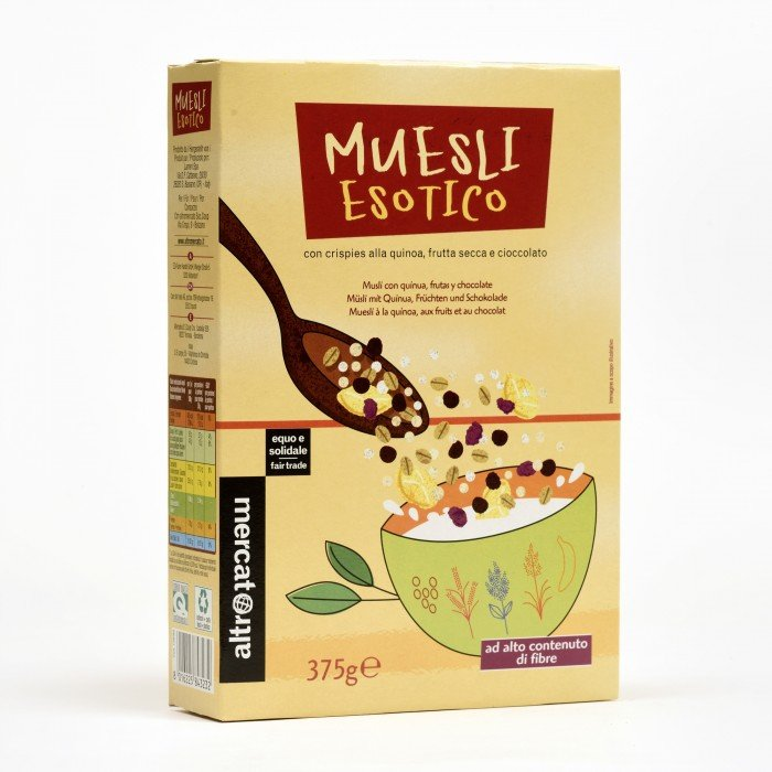 muesli alla frutta, cioccolata e quinoa