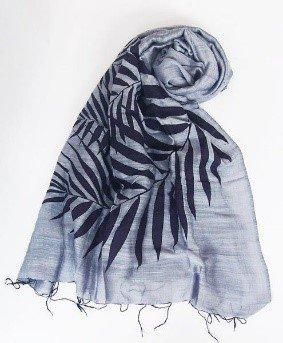 Sciarpa viscosa/seta lilla stampa foglie 60x180cm