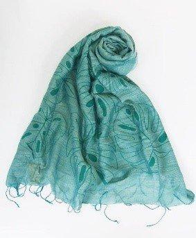 Sciarpa visc/seta verde stampa foglie tropiacali 60x180cm