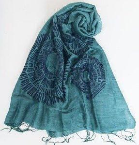 Sciarpa visc/seta blu/verde stampa corolla 60x180cm