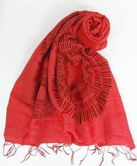 Sciarpa visc/seta rossa stampa corolla 60x180cm