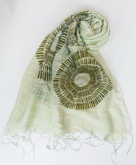 Sciarpa visc/seta bianca stampa corolla verde 60x180cm