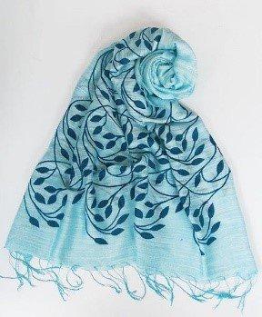 Sciarpa visc/seta azzurra stampa rami 60x180cm