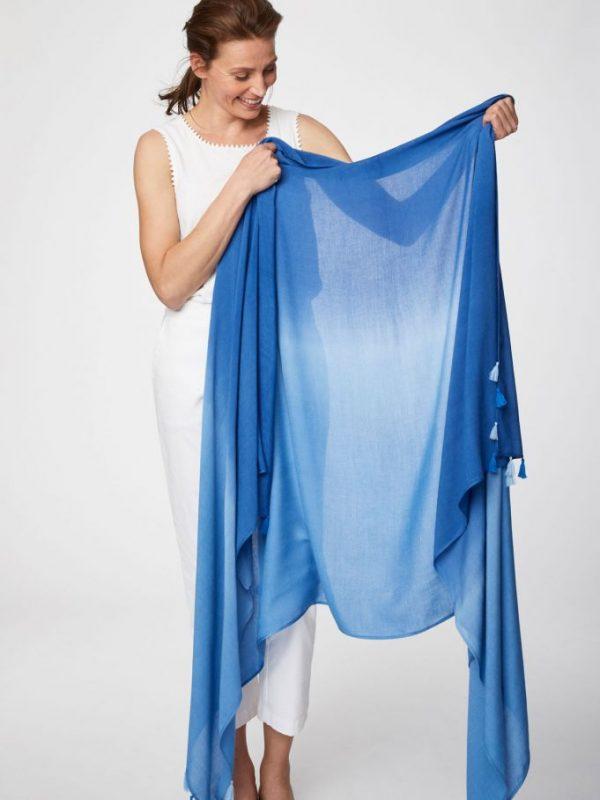 Stola Dip Dye Sarong marine blue 100%bamboo
