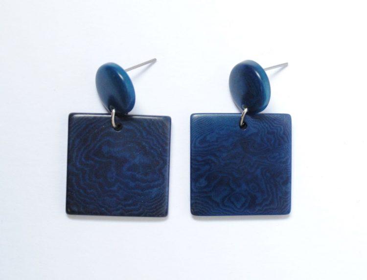 Orecchini Puro blu in tagua